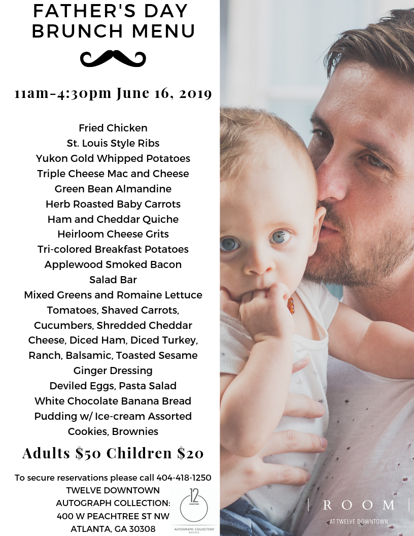Room at 12 Fathers Day Menu 2019